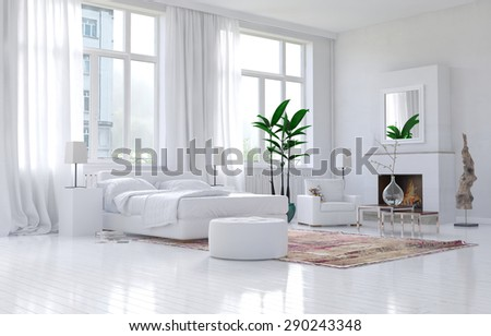 Contemporary spacious white bedroom interior with monochromatic decor and comfortable bed and armchairs below large bright sunny view windows. 3d Rendering. - stock photo