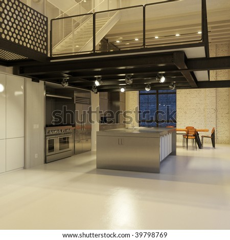 Contemporary steel kitchen in converted industrial loft (3D render) - stock photo