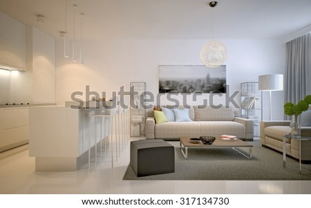 Contemporary studio apartments. Spacious solution for interior of living room studio in white color. 3D render - stock photo
