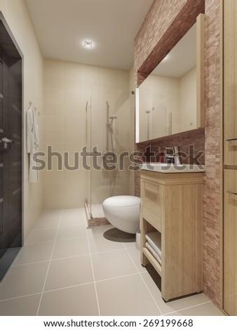 Contemporary style bathroom interior. 3d render - stock photo