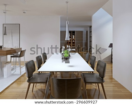 Contemporary style dining room. 3D render