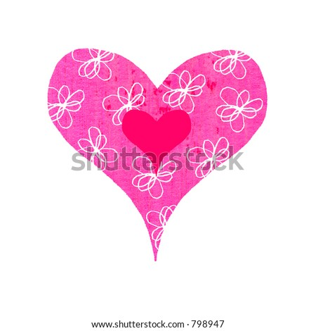 Contemporary valentines illustration of a groovy heart with flowery pattern - stock photo