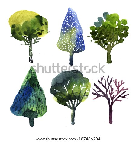 Contemporary whimsical trees illustration - stock photo