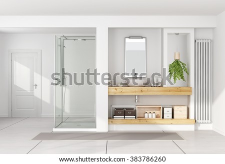 Contemporary white bathroom with washbasin on wooden shelf and shower - 3D Rendering - stock photo