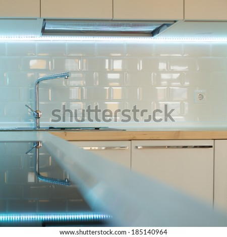 contemporary white kitchen interior - close up - stock photo