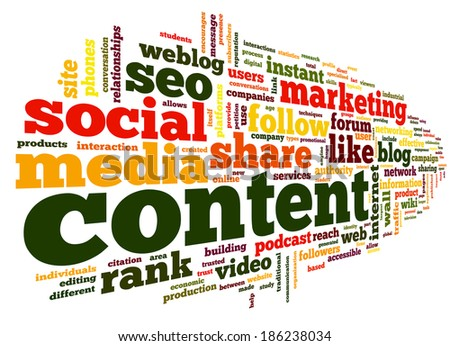 Content and Social media concept in word tag cloud on white background - stock photo