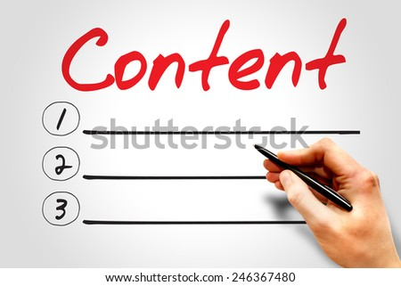 CONTENT blank list, business concept - stock photo