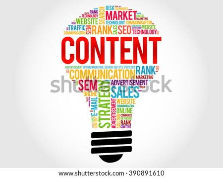 CONTENT bulb word cloud, business concept - stock photo