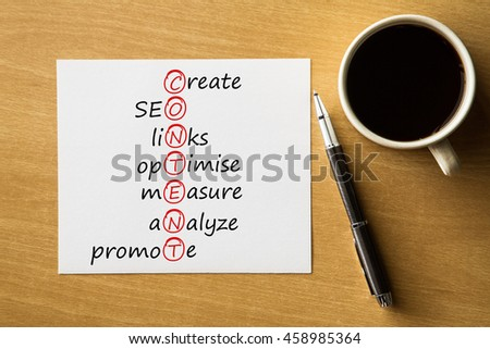 CONTENT create, SEO, links, optimise, measure, analyze, promote - handwriting on notebook with cup of coffee and pen, acronym business concept