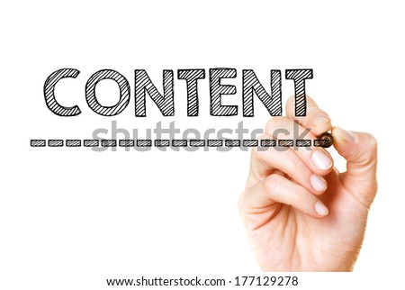 Content hand writing with a black mark on a transparent board - stock photo