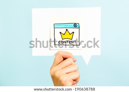 Content is the king message on blue background - stock photo