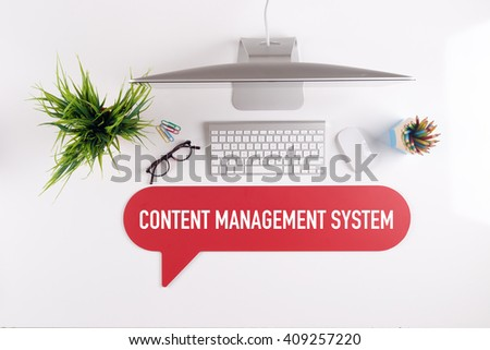 CONTENT MANAGEMENT SYSTEM Search Find Web Online Technology Internet Website Concept - stock photo