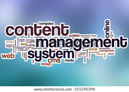 Content management system word cloud concept with abstract background - stock photo