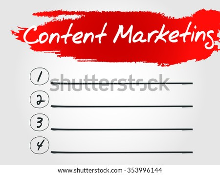 Content Marketing Blank List concept background - stock photo