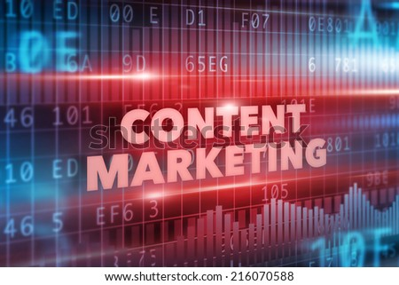 Content marketing concept red background red text - stock photo