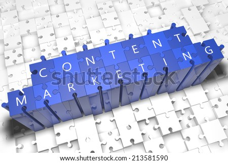 Content Marketing - puzzle 3d render illustration with block letters on blue jigsaw pieces  - stock photo