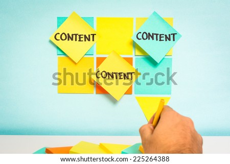 Content notes on blue board. Business concept. Sketch notes with blue background - stock photo