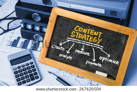 content strategy concept diagram hand drawing on blackboard - stock photo