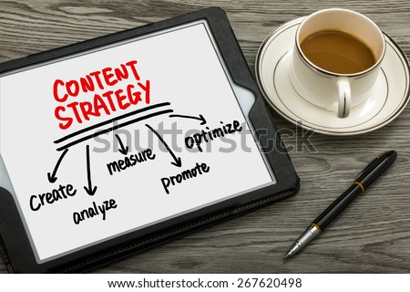 content strategy concept diagram hand drawing on tablet pc - stock photo