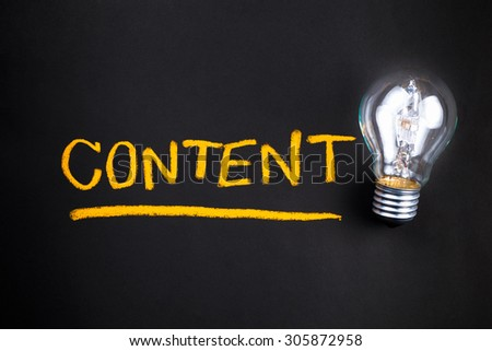 Content topic with glowing light bulb - stock photo