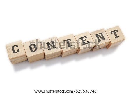 CONTENT word made with building blocks isolated on white