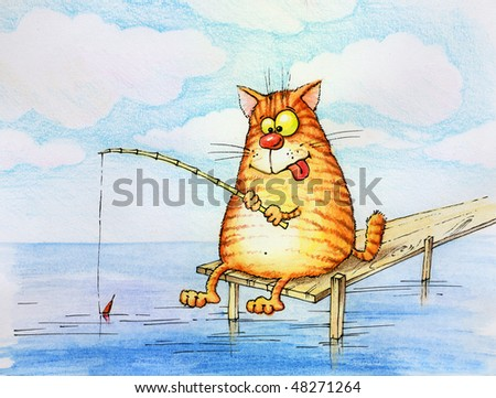 contented cat-sitting as a fisherman with fishing rod - stock photo