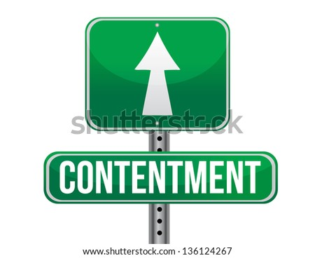 contentment road sign illustration design over a white background