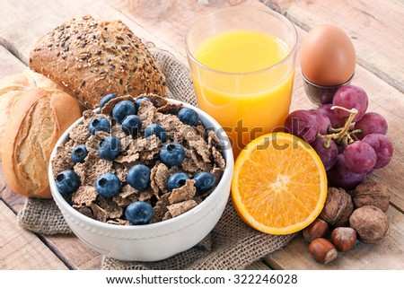 continental breakfast - food with background - stock photo