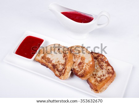 continental breakfast - toast, jam on a white background - stock photo