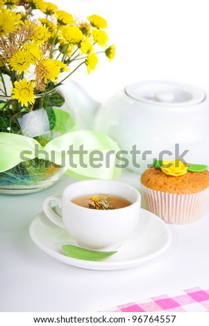 continental breakfast with cake and fruit tea