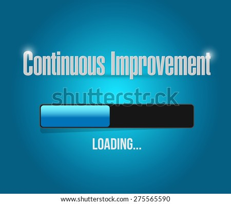 continuous improvement loading bar sign concept illustration design over blue background - stock photo