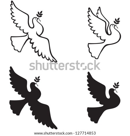 Contour and silhouette dove with a branch