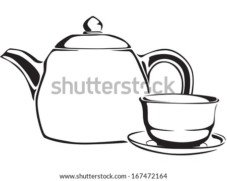 Contour black and white teapot and teacup of green tea