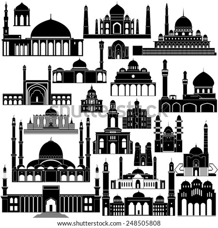 Contour collection of buildings and structures. The illustration on white background.