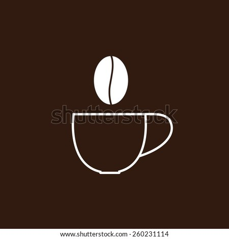 Contour cup of coffee and steam in the shape of grain. Logo template - stock photo
