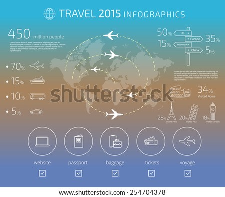Contour drawing of travel infographic template. Text outlined. Free font used - Exo 2 and Open Sans - stock photo