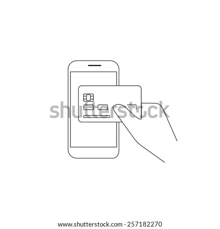 Contour illustration of payment by credit card via smartphone - stock photo