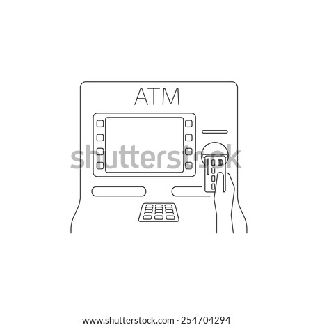 Contour illustrations of payment by credit card via atm.