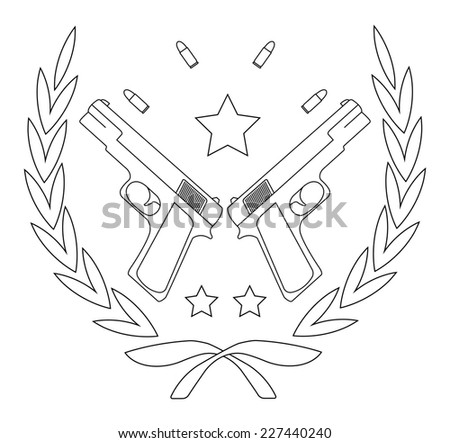 Contour, line art logo isolated on white with 2 pistols, bullets and stars in laurel wreath - stock photo