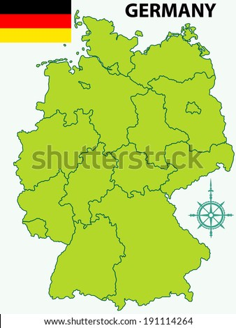 Contour map of the Germany with flag and windrose