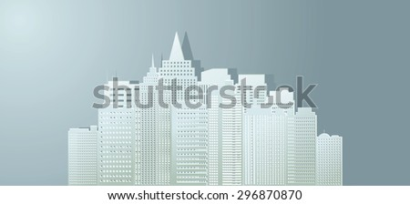 Contour of buildings of the city from paper. - stock photo