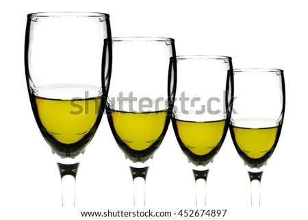 Contour of dark white wine glasses isolated on white background