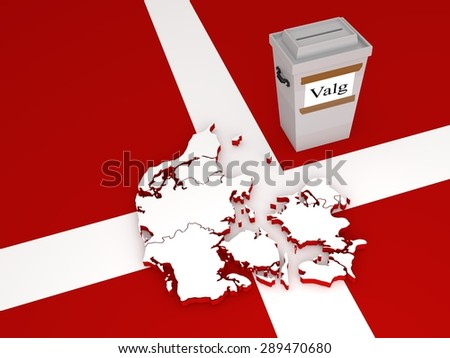 """Contour of Denmark (with regions after administrative reform in 2007) and ballot box with label with word """"Valg"""" meaning """"elections"""" in Danish language.  - stock photo"""