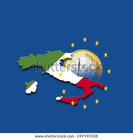 Contour of Italy with European Union stars and euro coin against blue background, digital composite - stock photo