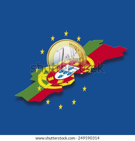 Contour of Portugal with European Union stars and euro coin against blue background, digital composite - stock photo