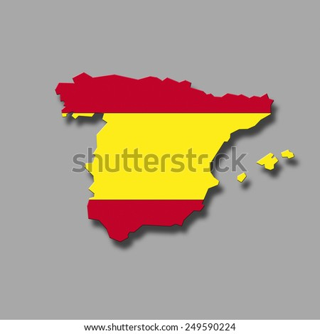 Contour of Spain against grey background, digital composite