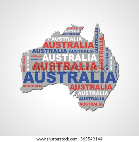 contour of the country called in the color of its flag of AUSTRALIA - stock photo