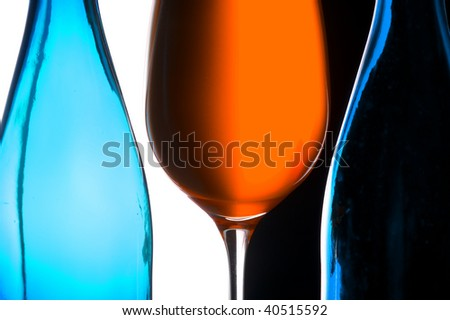 Contour wineglass and bottle wine
