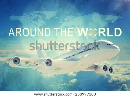Contoured map of world continents with inscription World Travel and related symbol. Flying jet airliner on foreground, Earth surface, clouds and sky as backdrop - stock photo