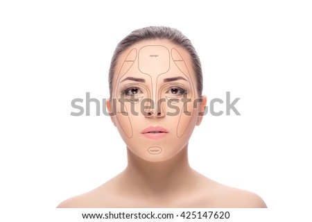 Contouring.Make up woman face. Contour and highlight makeup. Professional Contouring face make-up sample